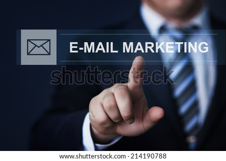 business, technology, internet and networking concept - businessman pressing e-mail marketing button on virtual screens - stock photo