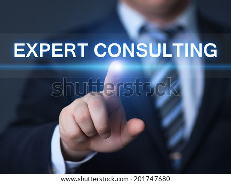 business, technology, internet and networking concept - businessman pressing expert consulting button on virtual screens - stock photo