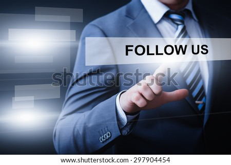 business, technology, internet and networking concept - businessman pressing follow us button on virtual screens - stock photo