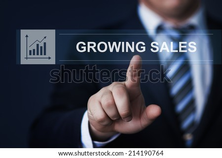 business, technology, internet and networking concept - businessman pressing growing sales button on virtual screens - stock photo
