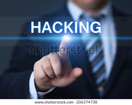 business, technology, internet and networking concept - businessman pressing hacking button on virtual screens - stock photo