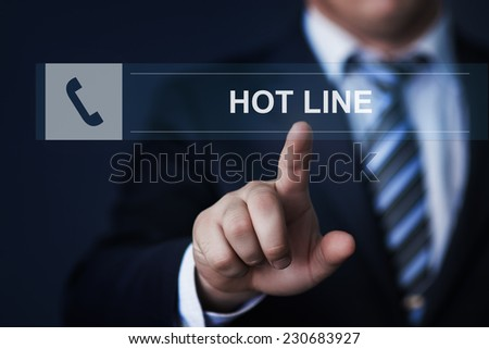 business, technology, internet and networking concept - businessman pressing hot line button on virtual screens