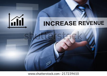 business, technology, internet and networking concept - businessman pressing increase revenue button on virtual screens - stock photo