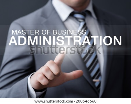business, technology, internet and networking concept - businessman pressing master of business administration button on virtual screens  - stock photo