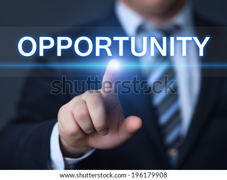 business, technology, internet and networking concept - businessman pressing opportunity button on virtual screens - stock photo