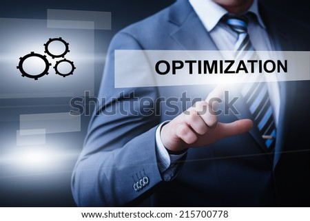 business, technology, internet and networking concept - businessman pressing optimization button on virtual screens - stock photo