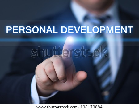 business, technology, internet and networking concept - businessman pressing personal development button on virtual screens - stock photo