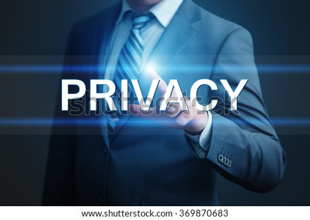 business, technology, internet and networking concept - businessman pressing privacy button on virtual screens