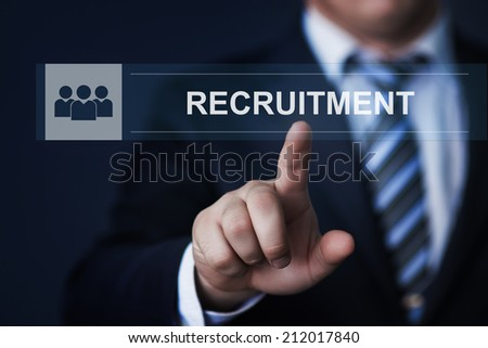 business, technology, internet and networking concept - businessman pressing recruitment button on virtual screens - stock photo