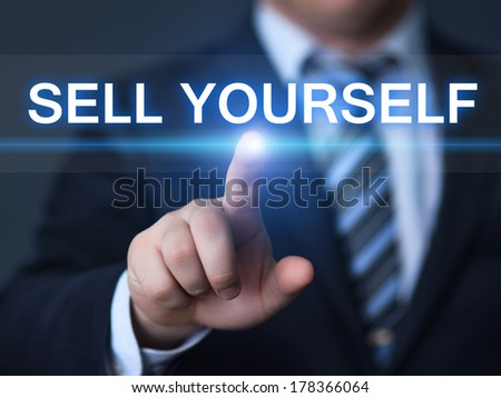 business, technology, internet and networking concept - businessman pressing sell yourself button on virtual screens - stock photo