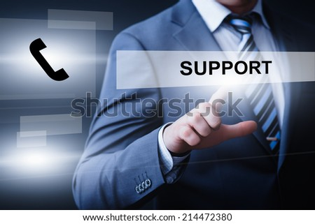business, technology, internet and networking concept - businessman pressing support button on virtual screens - stock photo