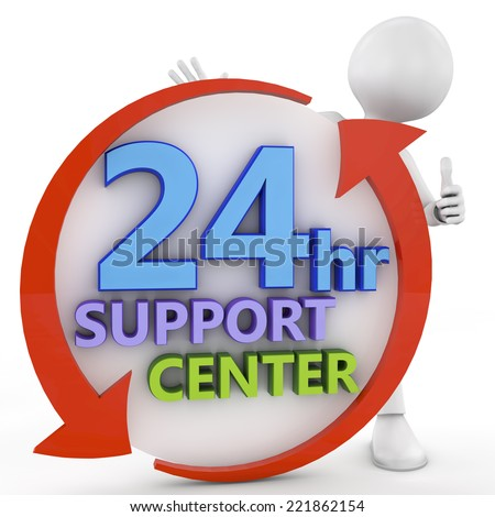 business, technology, internet and networking concept - businessman pressing 24/7 support center . 3d image rendered - stock photo
