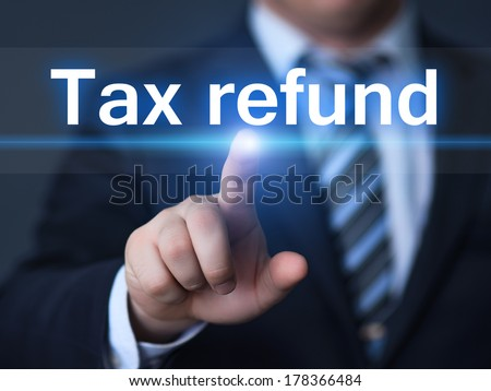 business, technology, internet and networking concept - businessman pressing tax refund button on virtual screens - stock photo