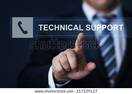 business, technology, internet and networking concept - businessman pressing technical support button on virtual screens
