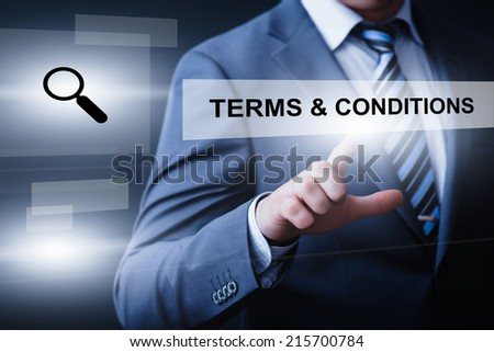 business, technology, internet and networking concept - businessman pressing terms and conditions button on virtual screens - stock photo