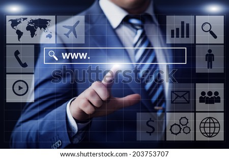 business, technology, internet and networking concept - businessman pressing www search bar button on virtual screens