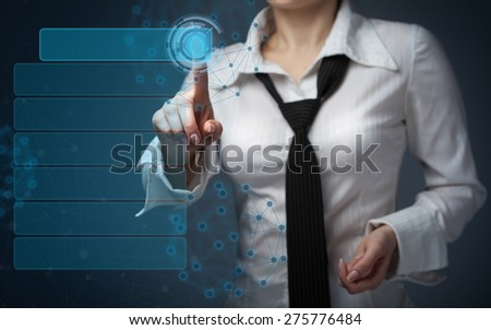 business, technology, internet and networking concept - businesswoman pressing  button on virtual screens - stock photo