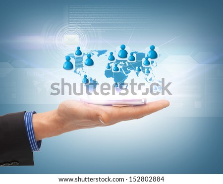 business, technology, internet and networking concept - man hand with smartphone and virtual screen - stock photo