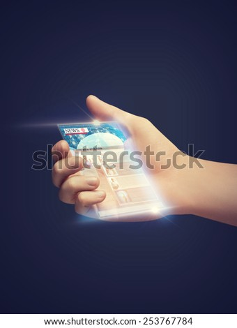 business, technology, internet and news concept - man hand showing smartphone with news app - stock photo