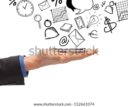 business, technology, internet and news concept - man hand with smartphone - stock photo