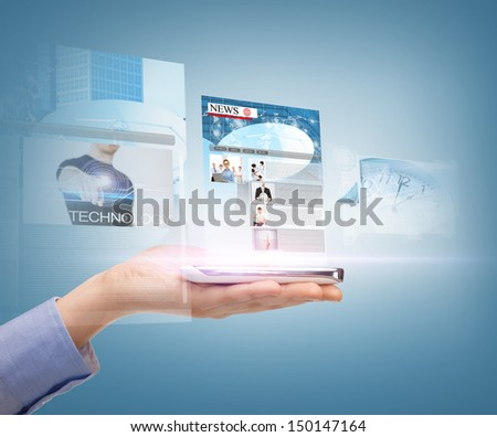 business, technology, internet and news concept - woman hand showing smartphone with news app - stock photo
