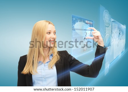 business, technology, internet and news concept - woman with virtual screen reading news