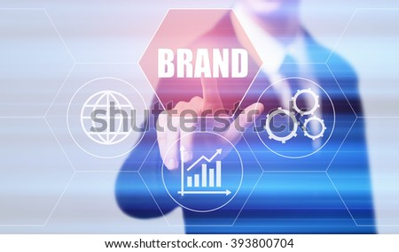 business, technology, internet and virtual reality concept - businessman pressing brand button on virtual screens with hexagons and transparent honeycomb
