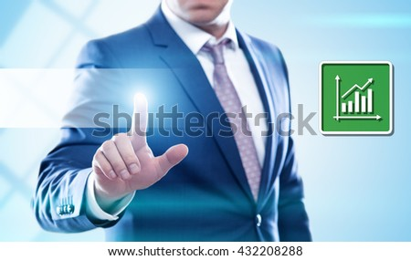 business, technology, internet and virtual reality concept - businessman pressing button on virtual screens. Template for text. - stock photo