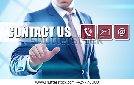 business, technology, internet and virtual reality concept - businessman pressing contact us button on virtual screens - stock photo