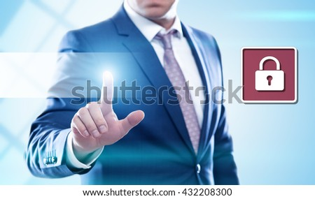business, technology, internet and virtual reality concept - businessman pressing cyber security button on virtual screens. Template for text. - stock photo