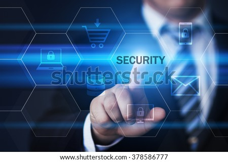 business, technology, internet and virtual reality concept - businessman pressing security button on virtual screens with hexagons and transparent honeycomb