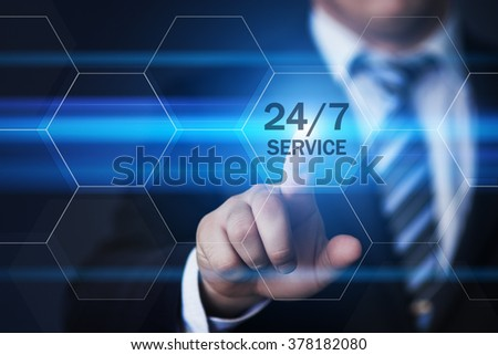business, technology, internet and virtual reality concept - businessman pressing 24/7 service button on virtual screens with hexagons and transparent honeycomb - stock photo