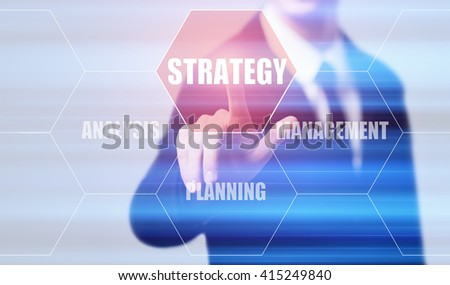business, technology, internet and virtual reality concept - businessman pressing strategy button on virtual screens with hexagons and transparent honeycomb - stock photo