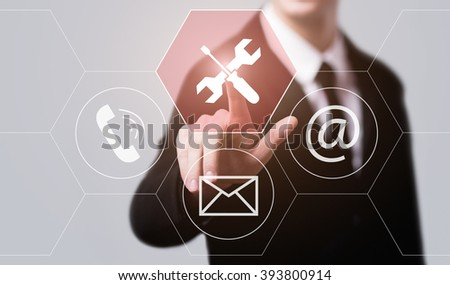 business, technology, internet and virtual reality concept - businessman pressing technical support button on virtual screens with hexagons and transparent honeycomb - stock photo