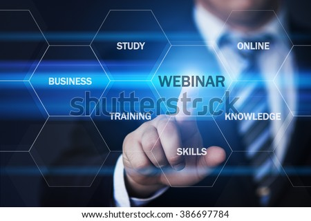 business, technology, internet and virtual reality concept - businessman pressing webinar button on virtual screens with hexagons and transparent honeycomb