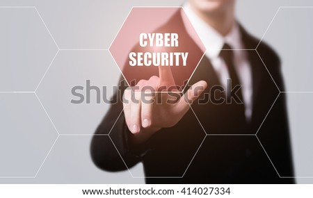 business, technology, internet and web security concept. Businessman pressing cyber security button on virtual screens with hexagons and transparent honeycomb - stock photo