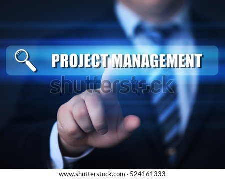 business, technology, internet concept. project management text in search bar.