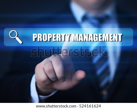 business, technology, internet concept. property management text in search bar.