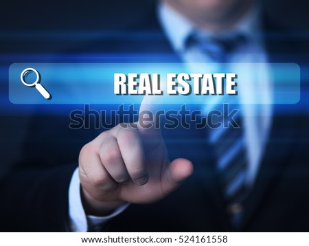 business, technology, internet concept. real estate text in search bar.