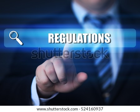 business, technology, internet concept. regulations text in search bar.