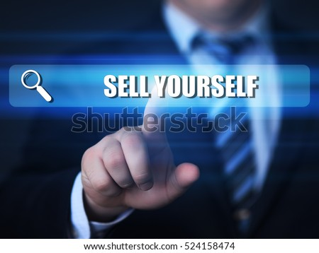 business, technology, internet concept. sell yourself text in search bar.