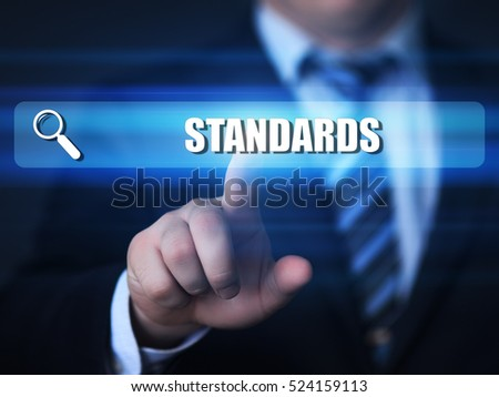 business, technology, internet concept. standards text in search bar.