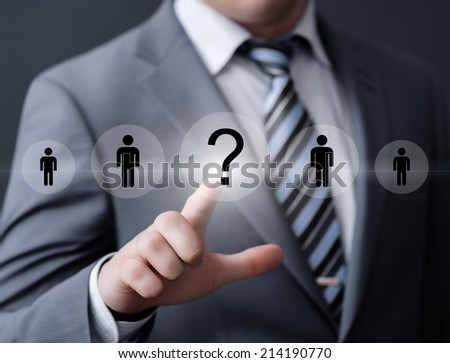 business, technology, internet, networking and recruitment concept - businessman pressing button on virtual screens - stock photo