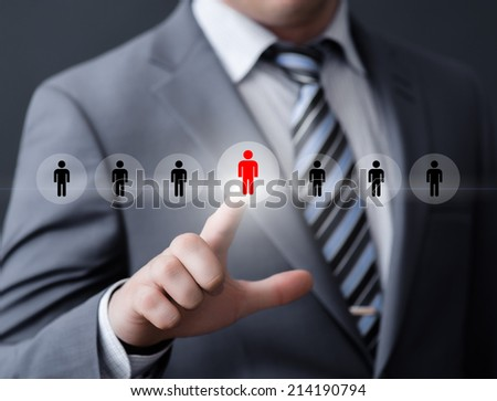 business, technology, internet, networking and recruitment concept - businessman pressing button on virtual screens