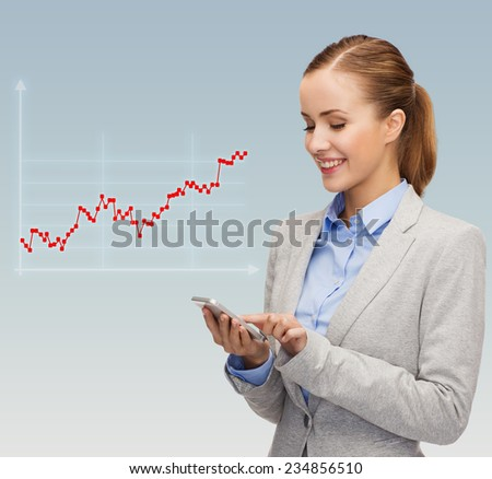 business, technology, people and statistics concept - young smiling businesswoman with smartphone over gray background and forex graph going up