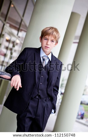 Business teenager looks forward - stock photo
