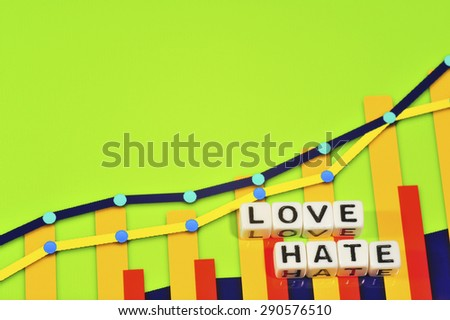 Business Term with Climbing Chart / Graph - Love Hate - stock photo