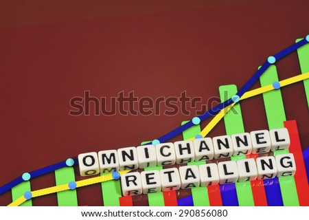 Business Term with Climbing Chart / Graph - Omnichannel Retailing - stock photo