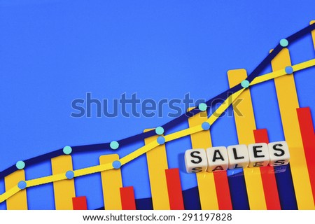 Business Term with Climbing Chart / Graph - Sales - stock photo