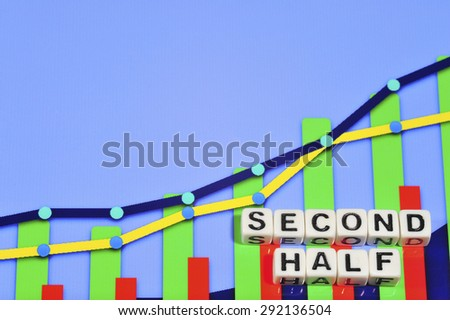 Business Term with Climbing Chart / Graph - Second Half - stock photo